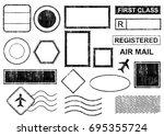 blank postal stamps set... | Shutterstock .eps vector #695355724