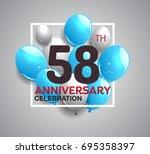 58th anniversary celebration...   Shutterstock .eps vector #695358397