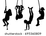 children swinging and playing... | Shutterstock .eps vector #695360809