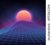 futuristic retro landscape of... | Shutterstock .eps vector #695361244