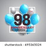 98th anniversary celebration...   Shutterstock .eps vector #695365024