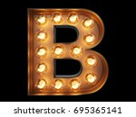 light bulb glowing letter... | Shutterstock . vector #695365141