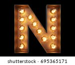 light bulb glowing letter... | Shutterstock . vector #695365171