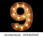 light bulb glowing digit... | Shutterstock . vector #695365465