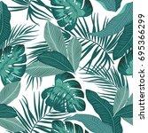 seamless pattern of leaves... | Shutterstock .eps vector #695366299