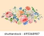 vintage watercolor bouquet with ...   Shutterstock . vector #695368987