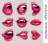 fashion patch badges with lips... | Shutterstock .eps vector #695370745