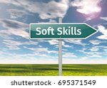 signpost with soft skills... | Shutterstock . vector #695371549