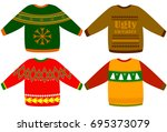 ugly christmas sweaters vector... | Shutterstock .eps vector #695373079