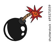 icon bomb. a cartoon lighted...   Shutterstock .eps vector #695373559