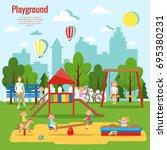 children's playground vector... | Shutterstock .eps vector #695380231