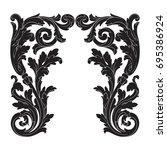 baroque vector of vintage... | Shutterstock .eps vector #695386924