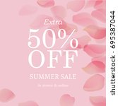 summer sale pink banner  with... | Shutterstock .eps vector #695387044