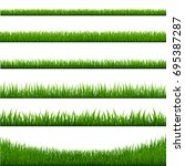grass borders set  vector... | Shutterstock .eps vector #695387287
