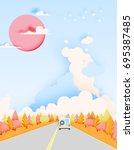 road trip with car and natural... | Shutterstock .eps vector #695387485