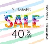 sale poster with butterfly ... | Shutterstock .eps vector #695392051