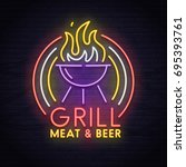 grill neon sign. neon sign ... | Shutterstock .eps vector #695393761