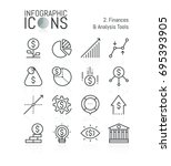 set of thin line icons ... | Shutterstock .eps vector #695393905
