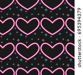 neon heart pattern vector    Shutterstock .eps vector #695394379