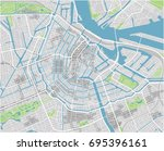 vector city map of amsterdam... | Shutterstock .eps vector #695396161