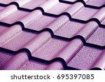 metallic roof with drops of... | Shutterstock . vector #695397085