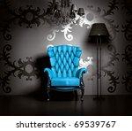 3d interior scene with blue...   Shutterstock . vector #69539767