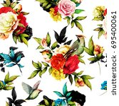 seamless floral background... | Shutterstock .eps vector #695400061