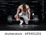athletic shirtless young sports ...   Shutterstock . vector #695401201