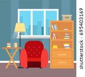 living room with furniture and... | Shutterstock .eps vector #695403169