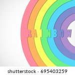 rainbow on white abstract... | Shutterstock .eps vector #695403259