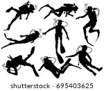 scuba diving silhouette vector... | Shutterstock .eps vector #695403625