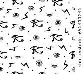 third eye seamless pattern.... | Shutterstock .eps vector #695411245