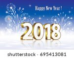 postcard happy new year 2018 on ... | Shutterstock .eps vector #695413081