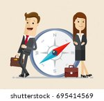 business man and woman with... | Shutterstock .eps vector #695414569