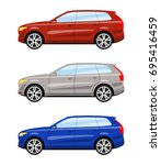 set of cars side view different ... | Shutterstock .eps vector #695416459