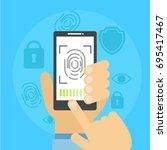 banner fingerprint scanning....   Shutterstock .eps vector #695417467