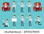 presentation set of a clerk guy ...   Shutterstock .eps vector #695419045