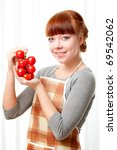 Ginger Woman Wearing Apron Wit...