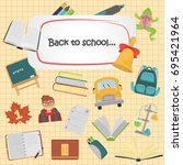 school color flat icons set for ... | Shutterstock .eps vector #695421964