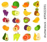 fruits color flat icons set for ... | Shutterstock .eps vector #695422351