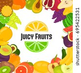 juicy fruits background for web ... | Shutterstock .eps vector #695422531