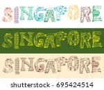singapore doodle style word... | Shutterstock .eps vector #695424514