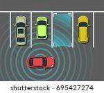autonomous car parking top view.... | Shutterstock .eps vector #695427274
