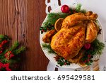 roasted whole chicken with... | Shutterstock . vector #695429581