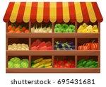 vegetable farmer shop. counter... | Shutterstock .eps vector #695431681