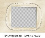 retro photo frame paper ripped. ... | Shutterstock .eps vector #695437639
