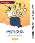 back to school background.... | Shutterstock .eps vector #695438899