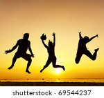 happy jump during sunset or... | Shutterstock . vector #69544237