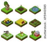 farm flat icon set | Shutterstock .eps vector #695443585