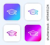 mortarboard bright purple and... | Shutterstock .eps vector #695445124